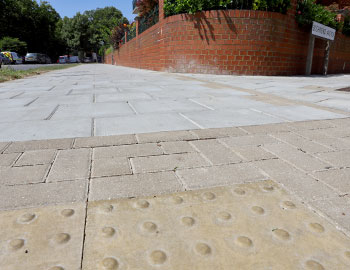 local authority slabbed footpaths on a residential street