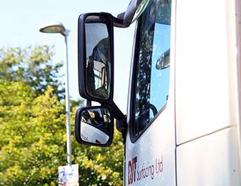 blindspot minimisation mirror on djt lorry