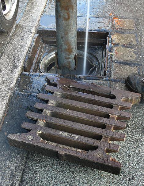 manhole cleaning closeup